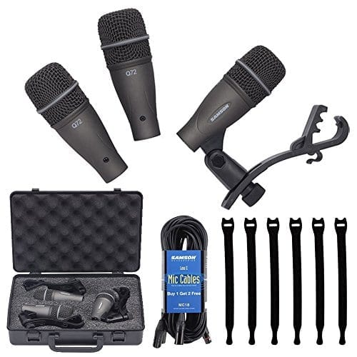 Samson DK703 3-Piece Drum Microphone Kit Includes 18' Mic Cable and 6-Pack Strapeez