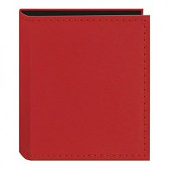 Pioneer Sewn Leatherette Photo Album 40 Pockets Hold Fujifilm Instax and Polaroid Credit Card Size Instant Prints or Name Cards, Red