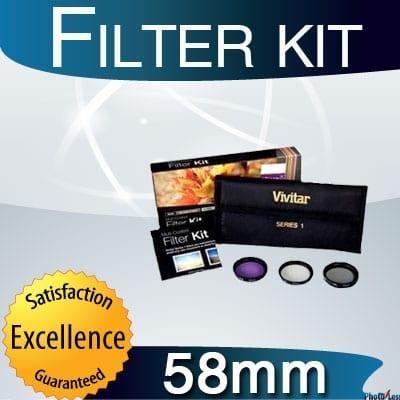 Vivitar 58mm 3-Piece Multi Coated Filter Kit UV, CP & FLD Filter