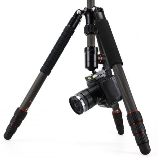 """FotoPro X-Go Plus 4-Section Carbon Fiber Tripod with Built-In Monopod, FPH-52Q Ball Head, 17 lbs Capacity, 62"""" Maximum Height"""