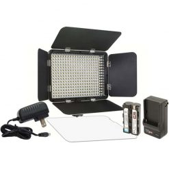 Vidpro LED-330X Varicolor Studio Video Lighting Kit with Built-in Barn Doors & Diffuser Includes Li-ion Battery & Charger, AC Adapter, Adjustable Shoe Mount