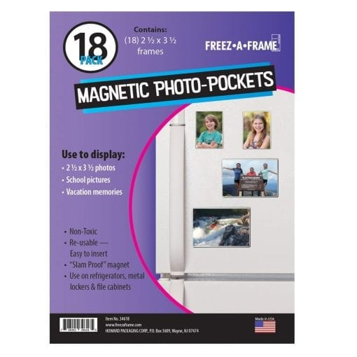 "Freez-A-Frame Clear Magnetic Photo Frames 2.5 "" x 3.5″ (Pack of 18),"