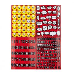 Scrapbooking Stickers 4 Pages of Emojis, Quotes, Letters & Numbers