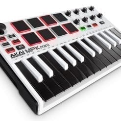 Akai Professional MPK Mini MKII White   25-Key Ultra-Portable USB MIDI Drum Pad & Keyboard Controller with Joystick, VIP Software Download Included - Limited Edition