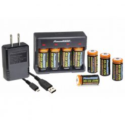 Power2000 Rechargeable CR-123A LiFePO4 Battery & Charger Kit with USB Adapter 8-Pack