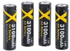 Xit 4 AA Ultra High Capacity Rechargeable NiMH Batteries 3100mAh (Black) XT4AABT