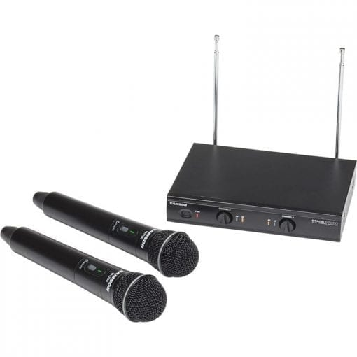 Samson Stage 200 Dual-Channel Handheld VHF Wireless System with Two Q6 Dynamic Microphones (Group B)