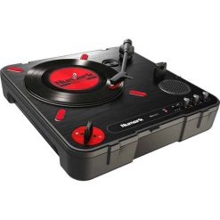 Numark PT01 Scratch | Portable Turntable with Built-In DJ Scratch Switch, Speaker, & Carrying Handle