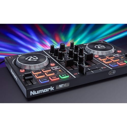 Numark Party Mix   Starter DJ Controller with Built-In Sound Card & Light Show, and Serato Software Download