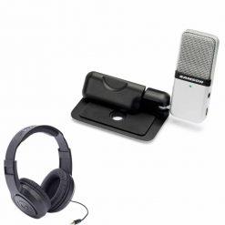 Samson Go Mic Clip-on USB microphone (Titanium) With SR350 Headphone