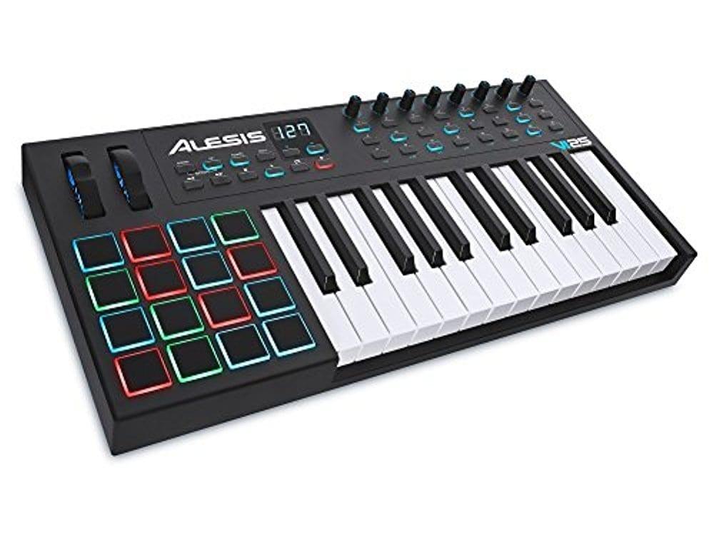Alesis VI25 | Advanced 25-Key USB MIDI Keyboard & Drum Pad Controller (16 Pads / 8 Knobs / 24 Buttons)