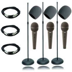 On Stage 3 Pack MS7201B Round Base Microphone Stand With 3 CAD12 Handheld Dynamic Cardioid Microphones + 3 XLR Microphone Cables 20ft + 3 Foam Windscreen