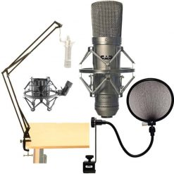 CAD Audio GXL-2200 Cardioid Condenser Microphone + On Stage MBS5500 Broadcast Boom Arm + 15A Pop Filter on 15-Inch Gooseneck