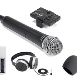 Brand New! Samson Go Mic Mobile HH System + Samson SR550 Over-Ear Stereo Headphones + 4 AA Batteries & White Charger + On Stage Foam Windscreen, Black