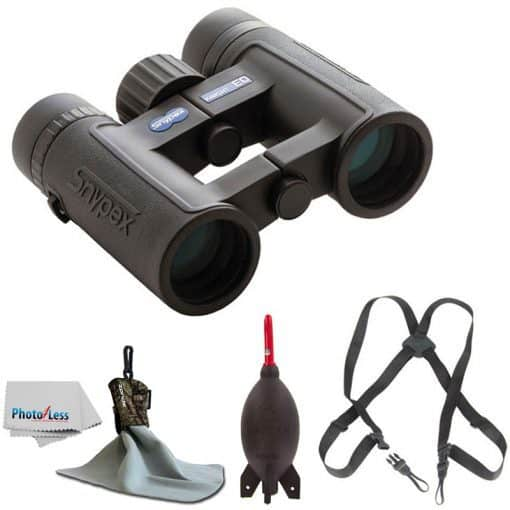 SNYPEX 10×32 Knight ED Water Proof Roof Prism Binocular With Case + Harness + Rocket Air Dust Blaster + Microfiber Spudz Cloth & Cleaning Cloth