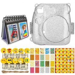 Xit Clear Glitter Hard Case for Fuji Instax Mini 9 + Smokey White 68-Sleeve Desk Album Frame + Emoji Photo Peg Pins + Emoji Sticker Frames (20) + Emoji/Quotes/Letters/Numbers Scrapbooking Stickers