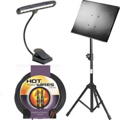 On Stage Conductor Stand with Tripod Folding Base + On Stage LED510 Clip-On Orchestra Light + On Stage Instrument Cable + Accessory Bundle
