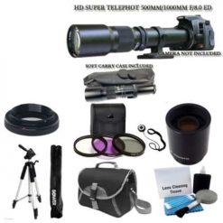 "500mm -1000mm f/8.0 High Definition Multi Coated Telephoto Lens With 2X Multiplier + UV Filter Kit + 59"" Lightweight Tripod + Case For ALL Digital SLR Nikon Camera D3200 D3300 D5100 D5200 D5300 D7000 D7100 D90"