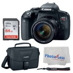 Canon EOS Rebel T7i Digital SLR Camera + Canon EF-S 18-55mm f/4-5.6 IS STM Lens + Canon EOS Shoulder Bag 100ES (Black) + Ultra SDXC 64GB 80MB/S Class 10 Flash Memory Card + Deluxe Canon Bundle