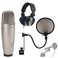 Samson C01U PRO USB Studio Condenser Microphone With CAD Audio EPF-15A Pop Filter on 15-Inch Gooseneck + CAD Audio MH110 Studio Monitor Headphones