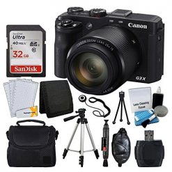 Canon PowerShot G3 X Digital Camera 20.2 MP + SanDisk 32GB Memory Card + Digital Camera/Video Case + Quality Tripod + USB Card Reader + 5 Piece Cleaning Kit + LCD Screen Protectors + Accessory Bundle