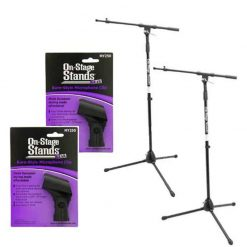 """2 On Stage MS7701B Professional Tripod Microphone Stands with 30"""" Boom + 2 On Stage MY250 Shure Type Microphone Clip"""