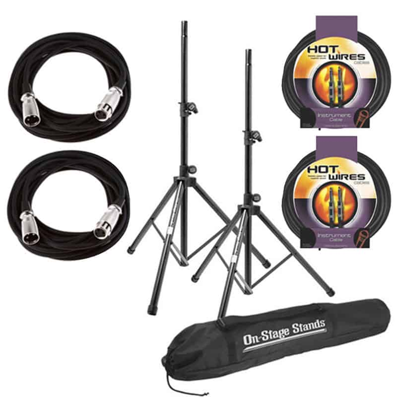 On Stage SSP7900 All Aluminum Speaker Stand Package with Bag With 2 Mic  Cables 20 ft  XLR Bulk + 2 Instrument Cables, 10 ft