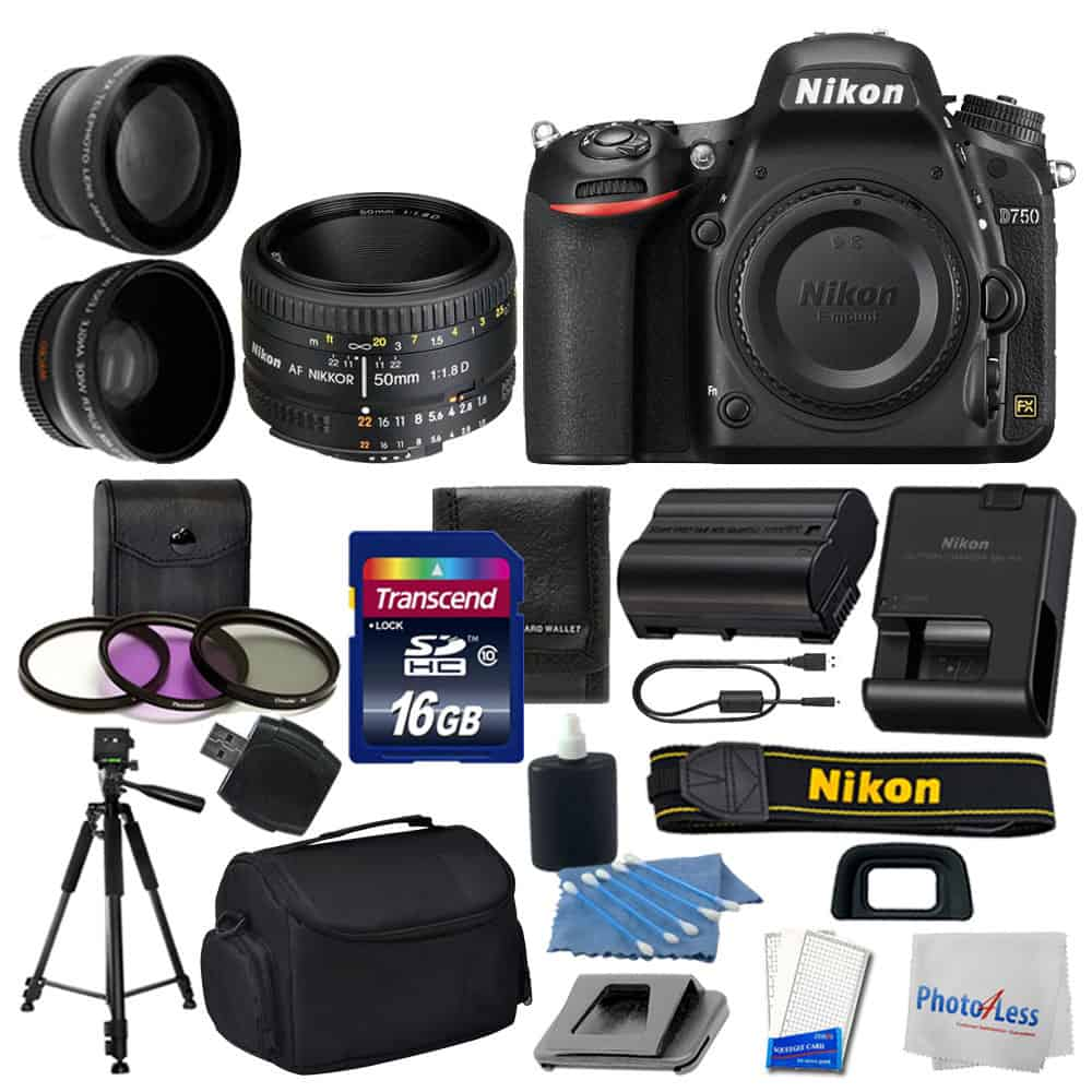 Photo4less Nikon D750 Digital Slr Camera 3 Lens 50mm F 18d 16gb Cleaning Kit 7 In 1 More