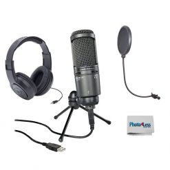 Audio-Technica AT2020USB+ Cardioid Condenser USB Mic + Pop Filter + Headphones