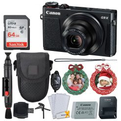 Canon PowerShot G9 X Mark II Digital Camera (Black) - Built-in Wi-Fi with NFC & Bluetooth + 64GB Memory Card + Point & Shoot Case + 2X Wreath Photo Ornaments + Table Tripod/Handgrip – Holiday Bundle