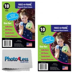 Freez-A-Frame Magnetic Photo Pockets For Fuji Mini Instax Photos (Wallet size) 2x 10 Pack + Photo4Less Cleaning Cloth – Valued Exclusive Bundle