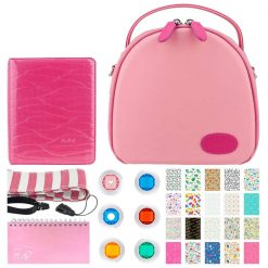 Xit Pink Round Case For Fuji Instax Mini + Pink 60-Sleeve Scrapbooking Album + Flamingo Pink 64-Sleeve Album + Flamingo Pink Striped Camera Strap + Color Close-Up Lens Filters + Birthday Sticker Frames (20)
