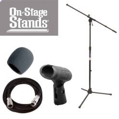 On Stage Stands MS7701B Tripod Boom Microphone Stand With On Stage Foam Windscreen Black + Mic Cable 20 ft. XLR + On Stage Unbreakable Dynamic Rubber Mic Clip