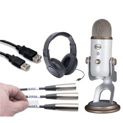 Blue Yeti USB Microphone + Samson Headphones + Pro Pack Cable Labels + Hosa High Speed USB Extension Cable – Top Value Bundle (Silver)
