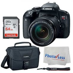 Canon EOS Rebel T7i Digital SLR Camera + EF-S 18-135mm f/3.5-5.6 IS STM Lens + Canon EOS Shoulder Bag 100ES (Black) + Ultra SDXC 64GB 80MB/S Class 10 Flash Memory Card + Deluxe Canon Bundle