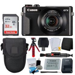 Canon PowerShot G7 X Mark II Digital Camera (Black) + Point & Shoot Case + 32GB Memory Card + 12 Flexible Tripod + USB Card Reader + Memory Card Wallet + LCD Screen Protectors – Accessory Bundle