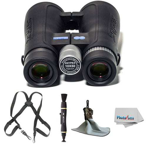 SNYPEX Optics New 2016 Knight 10x50 D-ED Waterproof/Fogproof Prism Binoculars + Ultra Microfiber Cloth with Pouch + Black Webbing Harness + Lens Cleaning Pen + Photo4Less Cleaning Cloth + Deluxe Kit