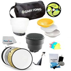 Gary Fong Fashion and Commercial Lighting Flash Modifying Kit With Neewer 110CM 43-Inch 5-in-1 Collapsible Multi-Disc Light Reflector, Silver, Gold,White, Black, & Translucent in Case For CANON 540EX 420EX 550EX 430EX 580EX 580EX II 430EX II 270EX 380EX 3