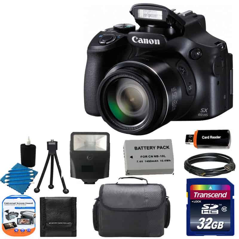 Canon PowerShot SX60 HS Digital Camera + Flash + Extra Battery + HDMI Cable  + 32GB Class 10 Card Complete All You Need Deluxe Accessory Bundle And