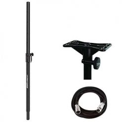 Ultimate Support JS-SP50 Subwoofer and Satellite Mounting Pole + On Stage Exterior Mounting Bracket + Mic Cable, 20 ft. XLR Bulk - Complete Accessory Bundle
