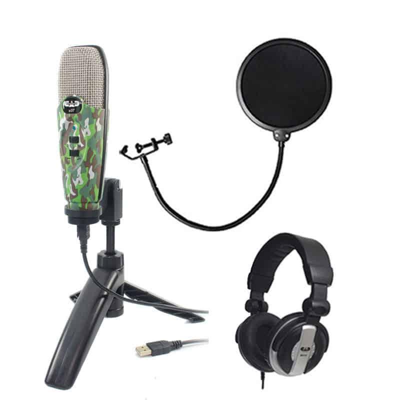 CAD Audio U37 USB Studio Condenser Vocal,Instrument & Recording Microphone,  Camouflage With CAD Audio 6 Pop Filter on Gooseneck + CAD Audio MH110