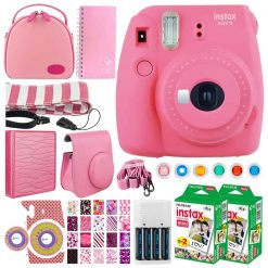 Fujifilm instax mini 9 Instant Film Camera (Flamingo Pink) + Fujifilm Instax Mini Twin Pack Instant (40 Shots) + Case + Scrapbook Album + Colored Filters + Camera Sticker + Neck Strap – Accessory Kit