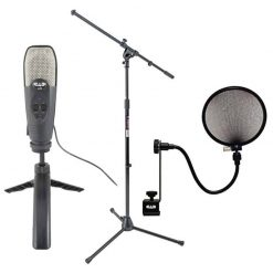 CAD Audio U39 USB Large Diaphragm Cardioid Condenser Microphone + On Stage Stands MS7701B Tripod Boom Microphone Stand + CAD Audio EPF-15A Pop Filter on 15-Inch Gooseneck