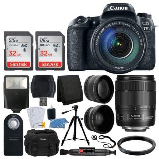 Canon EOS 77D DSLR Camera + EF-S 18-135mm f/3.5-5.6 IS USM Lens + Wide Angle & Telephoto + 64GB Memory Card + Quality Tripod + Vivitar Gadget Bag + Slave Flash + Card Reader – Valued Accessory Bundle