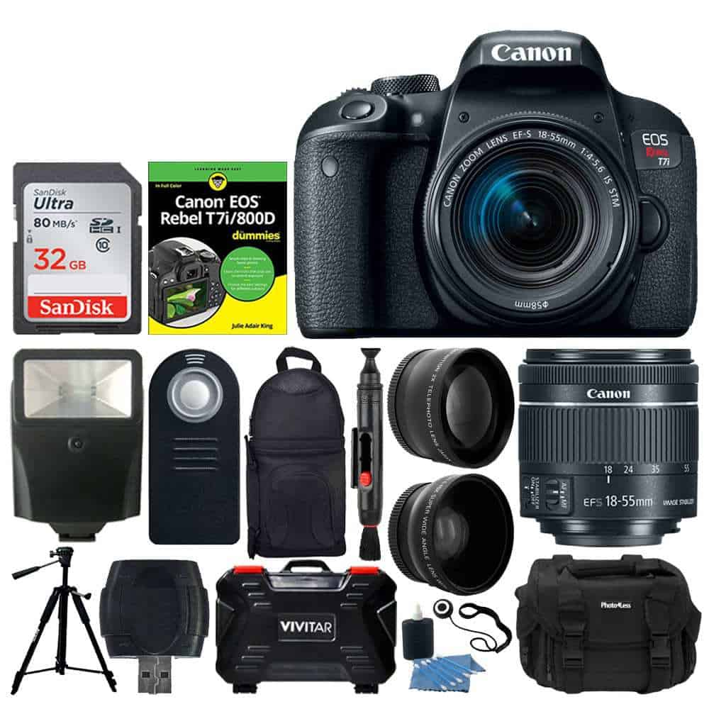 Canon Eos Rebel T7i Digital Slr Camera With Ef S 18 55mm F 4 5 6 Is Stm Lens 58mm Wide Angle Lens 2x Telephoto Lens Flash 64gb Sdhc Memory
