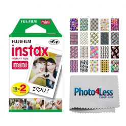Fujifilm instax mini Instant Film (20 Exposures) + 20 Sticker Frames for Fuji Instax Prints BFF Package + Photo4Less Cleaning Cloth – Deluxe Accessory Bundle