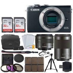 Canon EOS M100 Mirrorless Digital Camera + EF-M 15-45mm f/3.5-6.3 IS STM Lens (Graphite) + EF-M 55-200mm f/4.5-6.3 IS STM Lens (Black) + 32GB Memory Card + Tripod + 12 Piece Card Holder + UV Filters