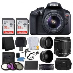 Canon EOS Rebel T6 Digital SLR Camera + Canon EF-S 18-55mm f/3.5-5.6 IS II Lens + 64GB Card + 2x Lens 58mm & Wide Angle Lens + Extra Battery + 3 Piece UV Filters + Gadget Bag + Deluxe Bundle