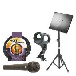 On-Stage Conductor Stand with Folding Tripod Base SM7211B + CAD Cardioid Dynamic Vocal / Instrument Microphone CAD12 + On Stage Instrument Cable + On Stage Unbreakable Dynamic Rubber Mic Clip