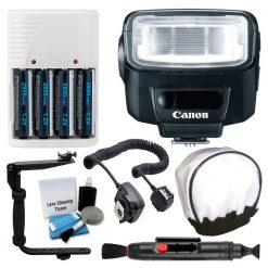 Canon Speedlite 270EX II Flash for Canon Digital SLR Cameras + Camera Flash Cord + Universal Flash Diffuser + Flash Bracket + 4 AA Batteries & White Charger + 5 Piece Cleaning Kit + Lens Cleaning Pen